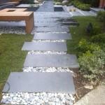 bazalt bahçe adım taşları çakıl derzli