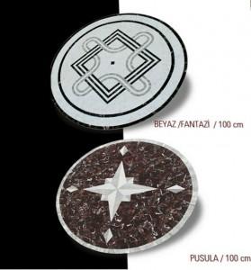 mermer mozaik madalyon b.fantazi-pusula