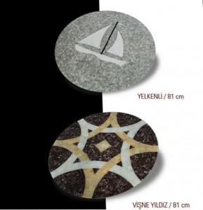 mermer mozaik madalyon yelken- yıldız