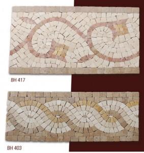 Fileli mermer mozaik bordür