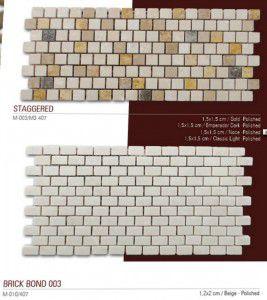 Staggered, brickbond fileli mermer mozaik