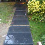 bazalt adım taşları ıslak patineli