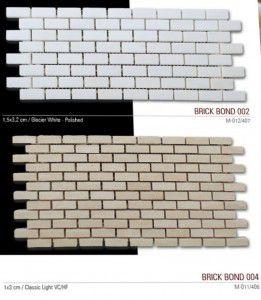 Brick bond fileli mermer mozaik