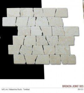Broken joint fileli mermer mozaik